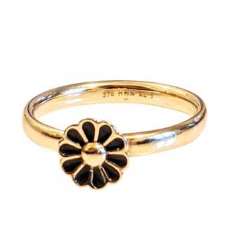 Hans Henrik Nygaard black enamel and gold daisy ring