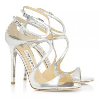 Jimmy Choo Silver Mirrored Leather Lance Sandals