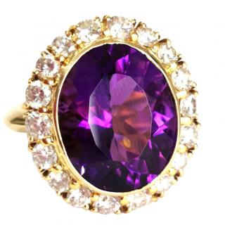Bespoke natural very large Siberian Amethyst and 2.3 ct diamond ring