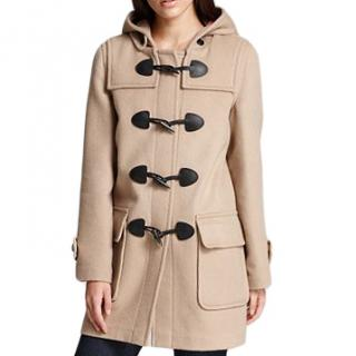 Burberry ivory beige toggle front wool duffle coat