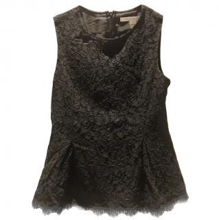 Diane Von Furstenberg black lace peplum top