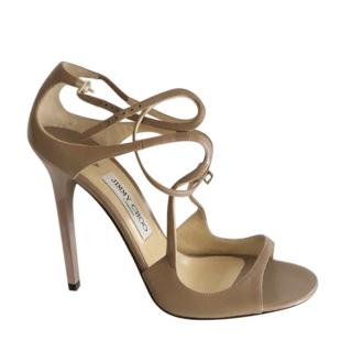 Jimmy Choo Taupe Leather Lance Sandals