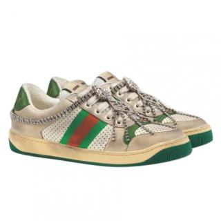 Gucci Screener Sneaker With Crystals - Current