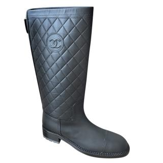 Chanel Black Quilted Leather CC Boots