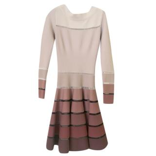 Alaia Ombre Knit Long-Sleeve Skater Dress