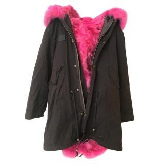 Bespoke Pink Fur Lined Black Coat