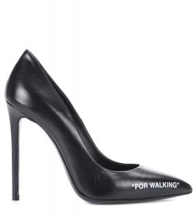OFF WHITE by VIRGIL ABLOH  For Walking Black Leather pumps