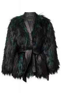 Balmain x H&M Faux Fur Emerald Coat