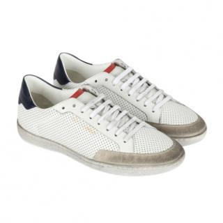 Saint Laurent Perfored Leather Classic SL/10 Court Sneakers