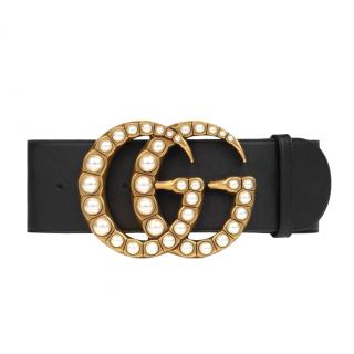 Gucci black wide leather belt with pearl GG buckle