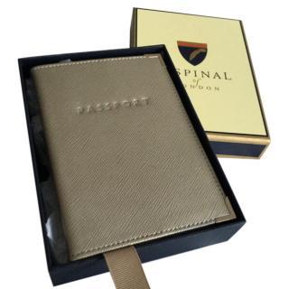 Aspinal of London Pale Gold Metallic Passport Holder