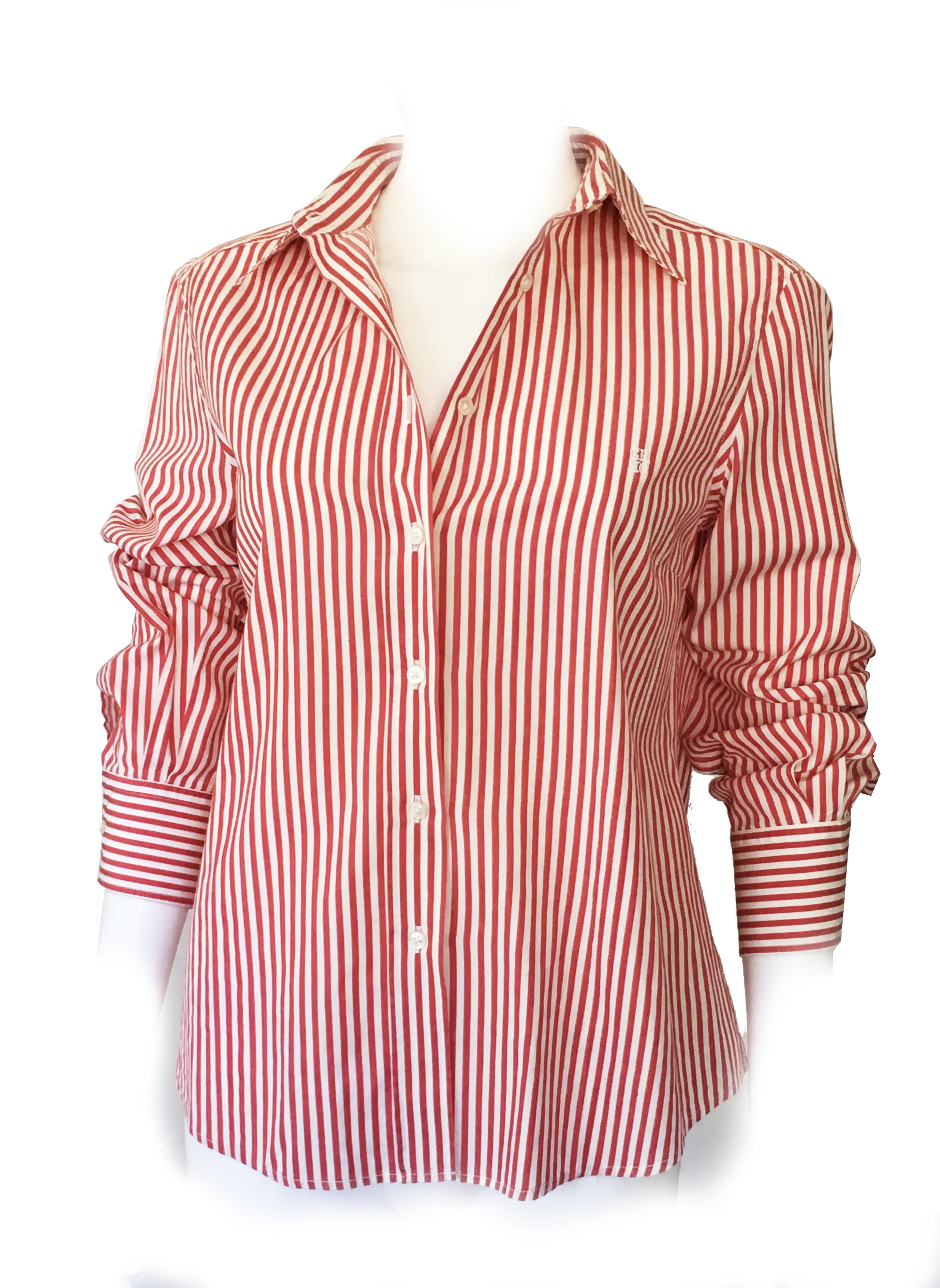 Carolina Herrera classic oxford red striped shirt