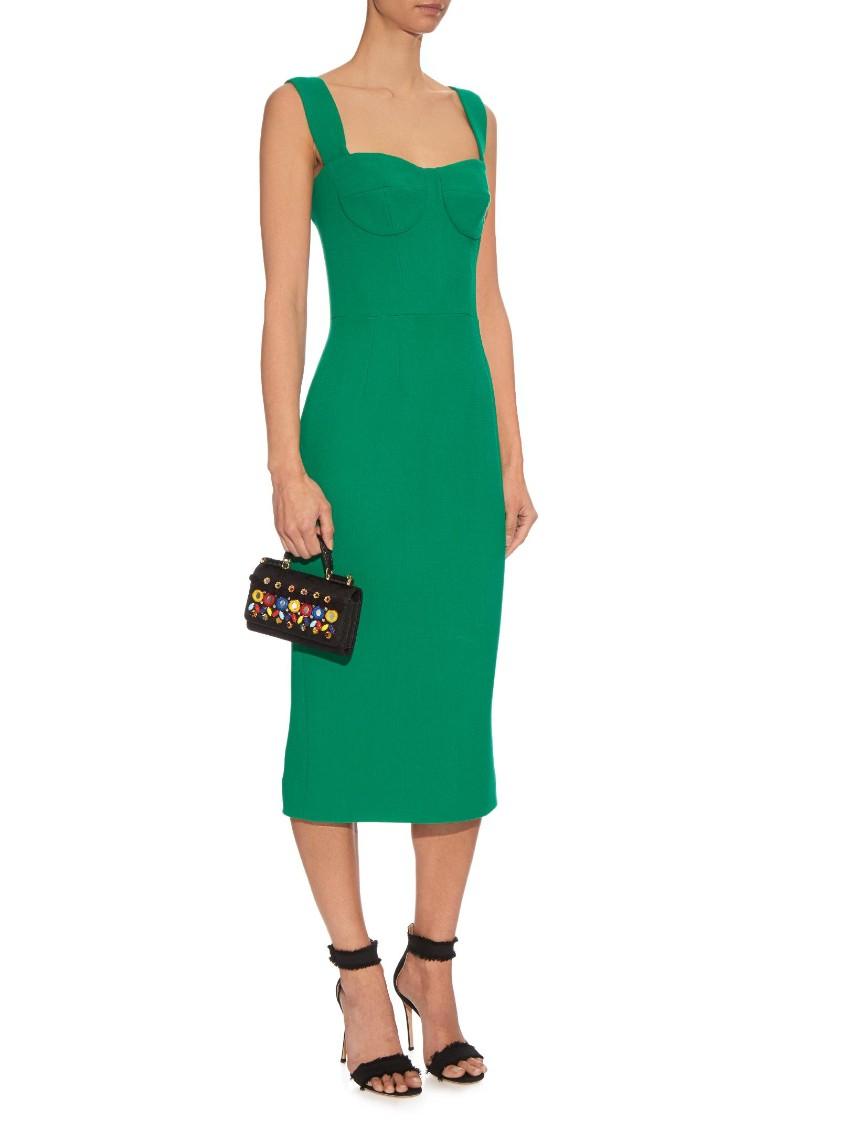 Dolce & Gabbana Green Wool Crepe Midi Dress