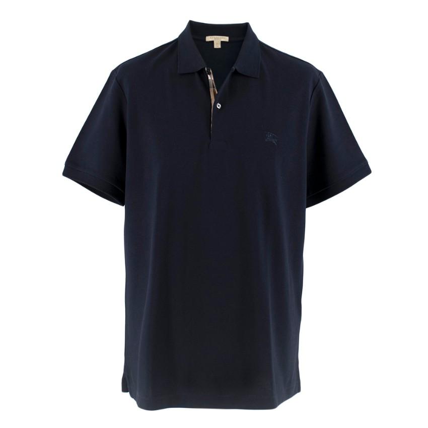 Burberry Blue Monogram Cotton Pique Polo Shirt