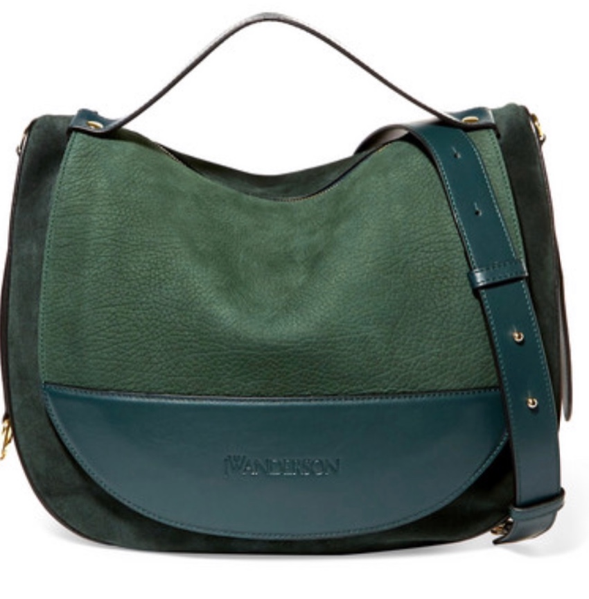 J W Anderson Forest Green Leather & Suede Moon Bag