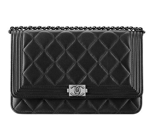 Chanel Black Lambskin Boy Wallet on Chain