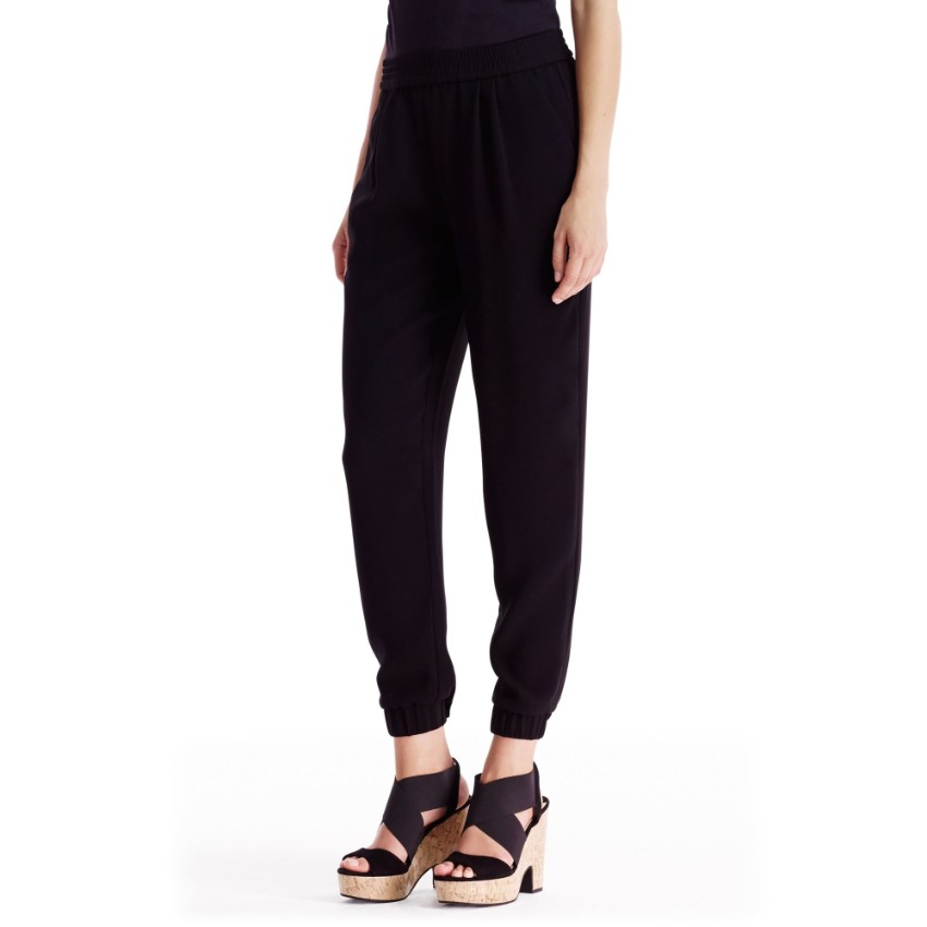 Diane Von Furstenberg janeta washed black silk track pants