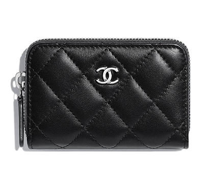 Chanel Black Lambskin Small Zip-Around Purse