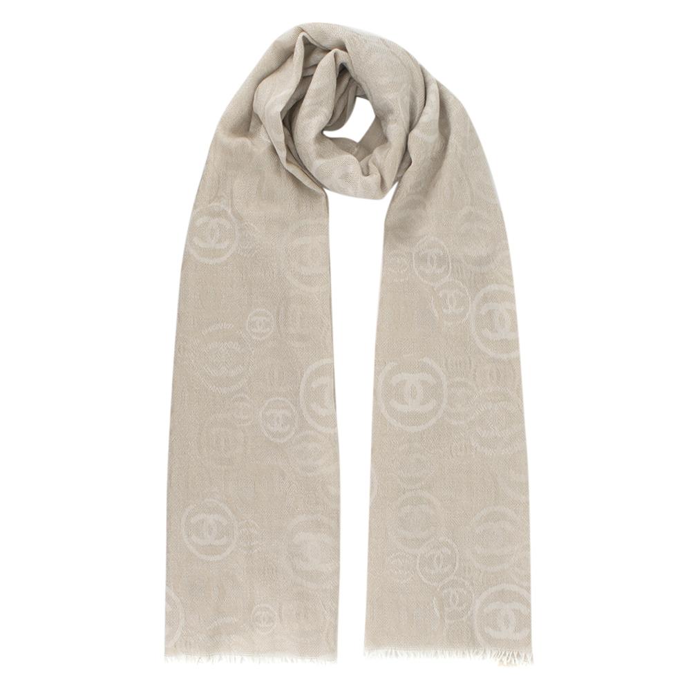 Chanel beige CC Cashmere Scarf