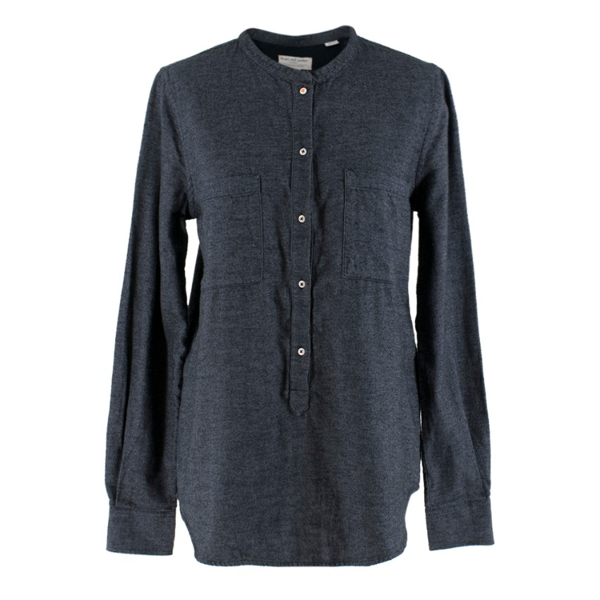 Chinti and Parker Blue Denim Flannel Organic Cotton Shirt