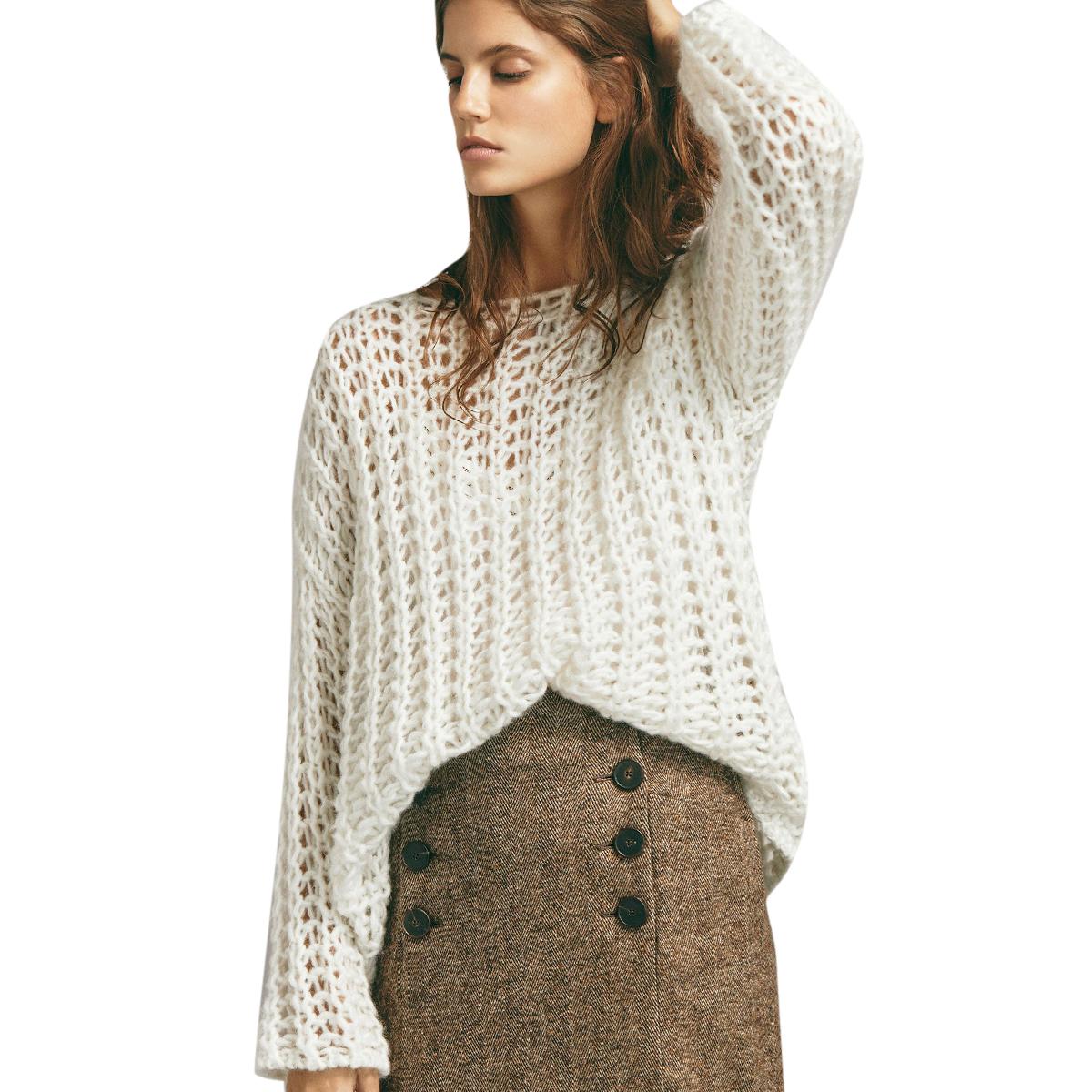Massimo Dutti Textured open knit sweater