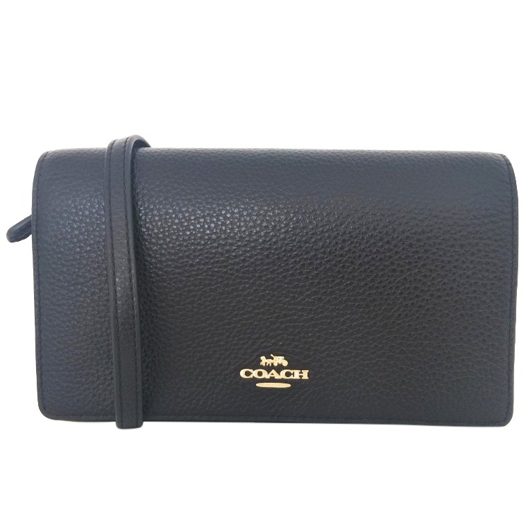 Coach small black leather shoulder clutch bag