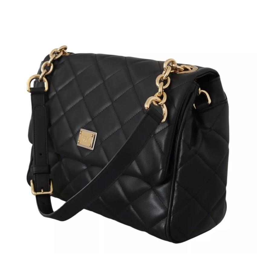 Dolce & Gabbana Black Quilted Nappa Leather Shoulder Bag