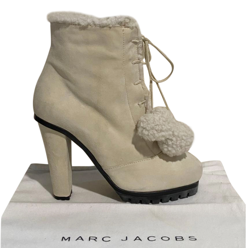 Marc Jacobs Cream Shearling Lined Suede Ankle Boots