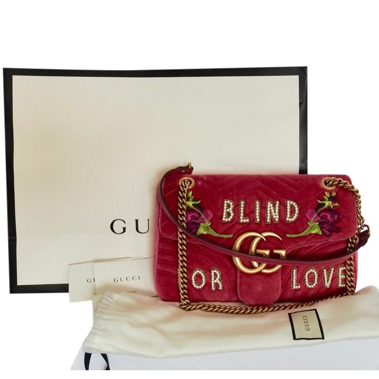 Gucci Pink Velvet Blind For Love Embellished Marmont Shoulder Bag
