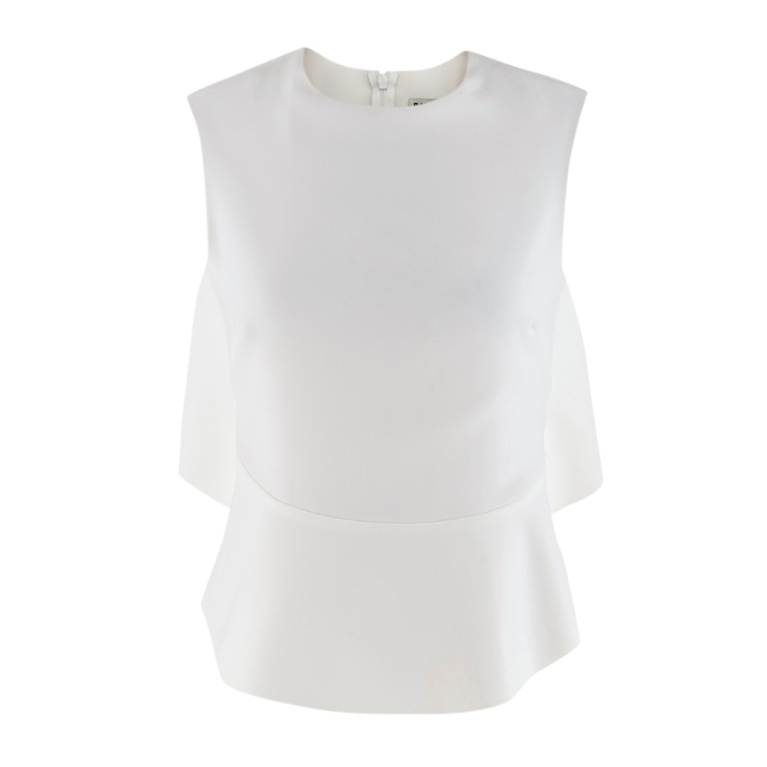 Balenciga White Draped Back Cut-Out Top