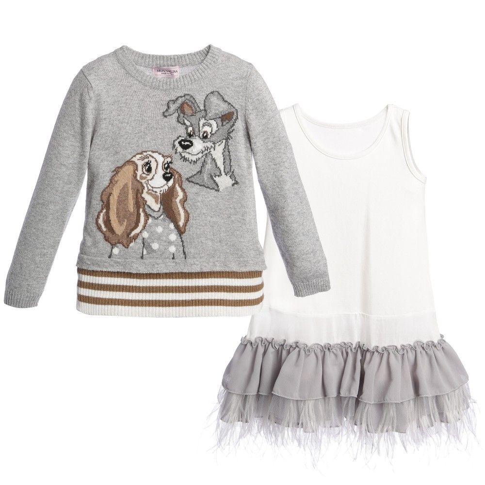 Monnalisa Bimba girls two piece dress & sweater