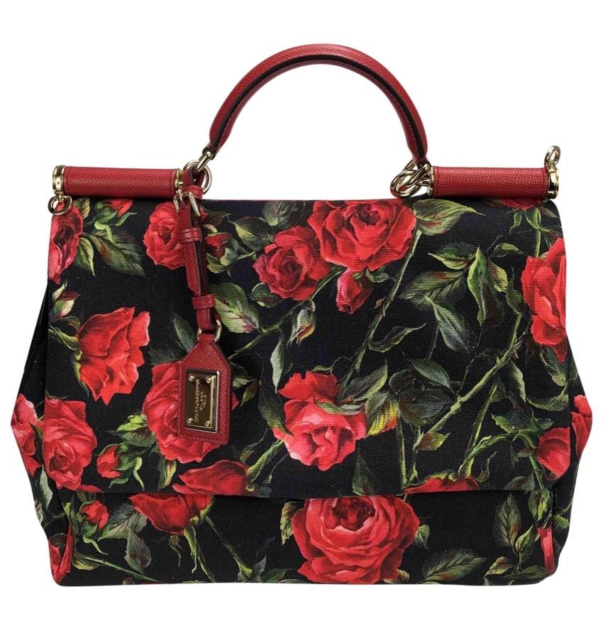 Dolce & Gabbana Rose Print Large Miss Sicily Bag