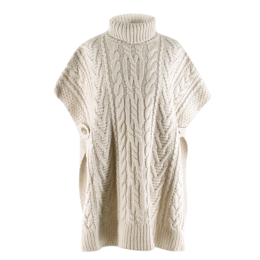 45R White Chunky Cable Knit Hand Knit Cape Jumper