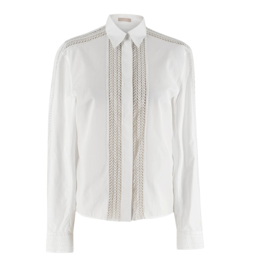Alaia White Poplin Lace Panelled Shirt