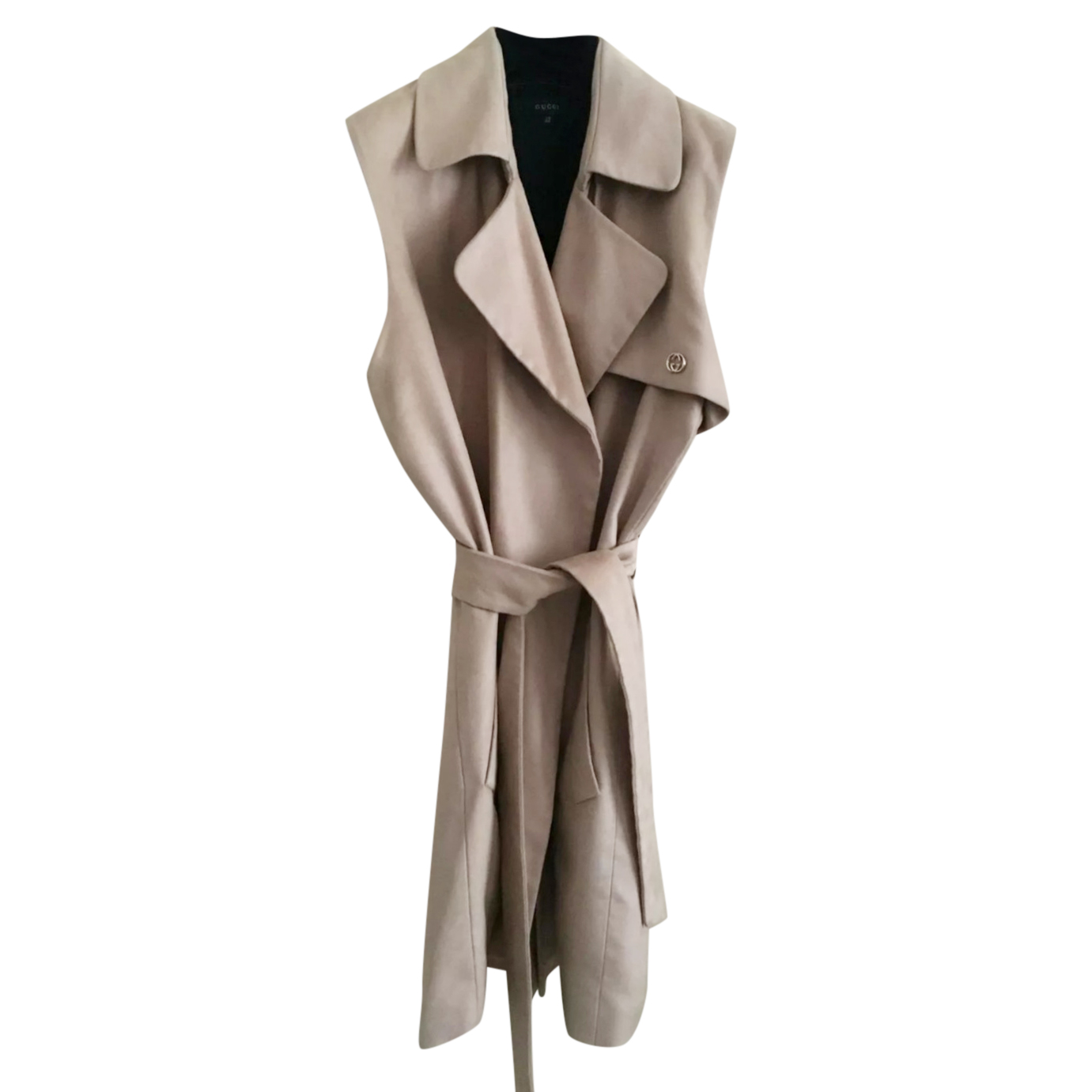 Gucci Beige Sleeveless Trench Coat