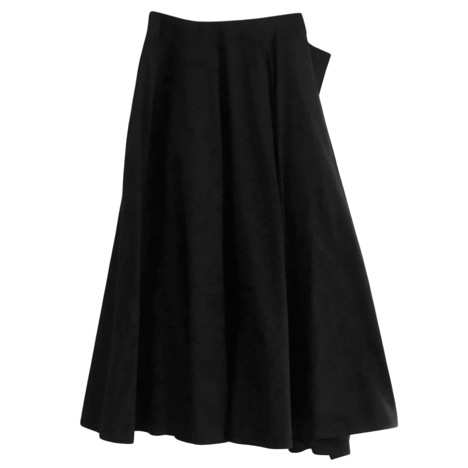 Yohji Yamamoto Black Structured Layered Midi Skirt
