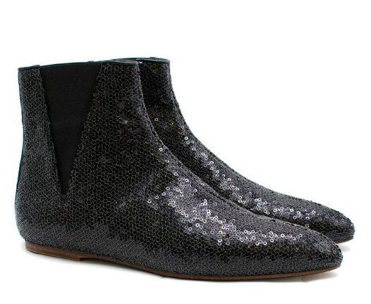 Loewe Black Flat Sequin Ankle Boots