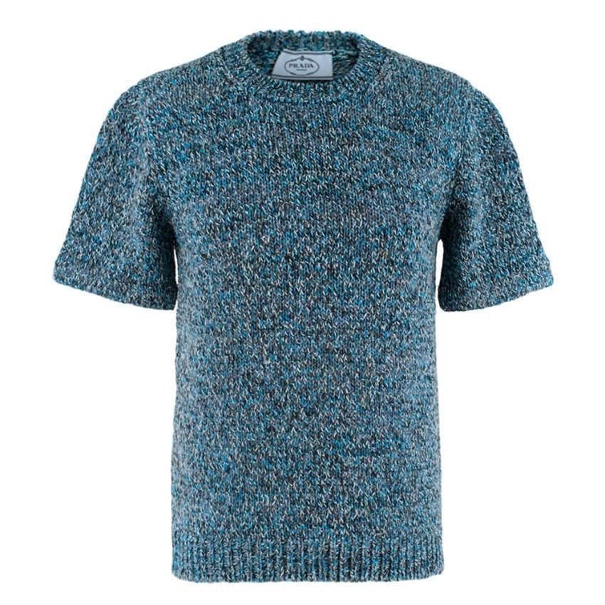 Prada Blue Braided Knit Short Sleeve Jumper
