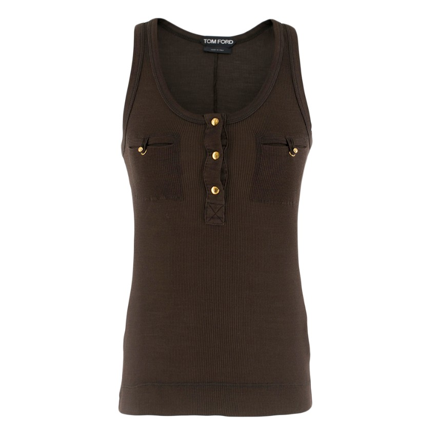 Tom Ford Brown Ribbed Silk Tank Top