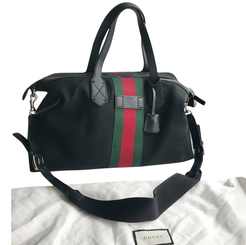 Gucci black webstripe canvas boston bag
