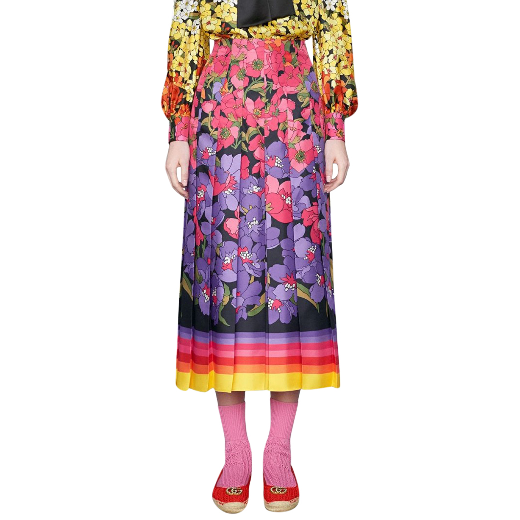 Gucci Degrade Floral Print Pleated Midi Skirt