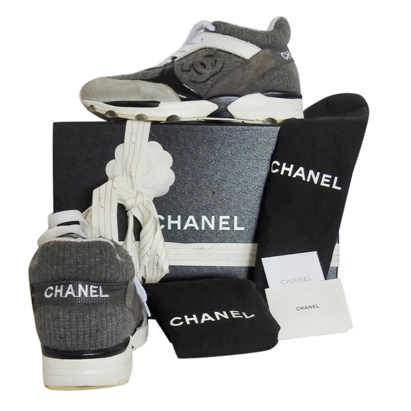 Chanel Suede & Wool Grey CC Sneakers