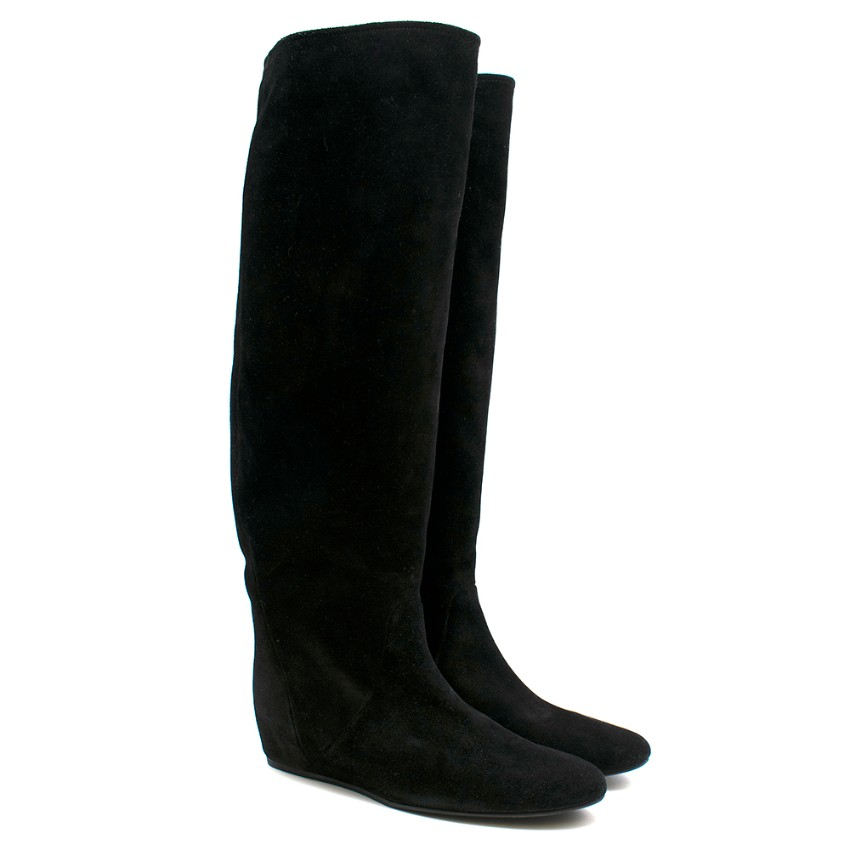 Lanvin Black Suede Wedge Knee Boots