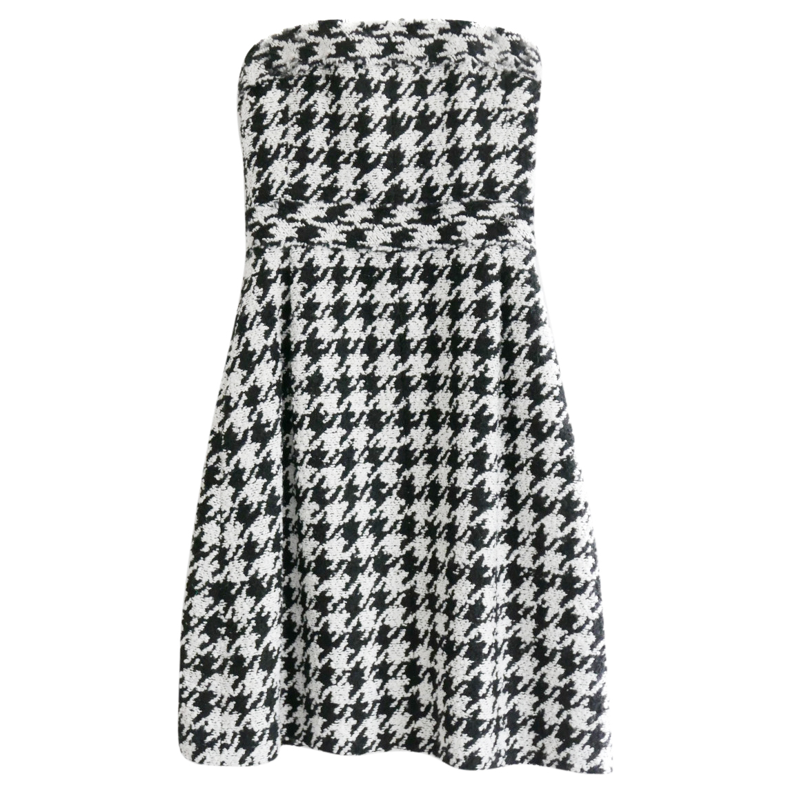 Chanel Pre-Fall '16 Houndstooth Strapless Wool Blend Dress