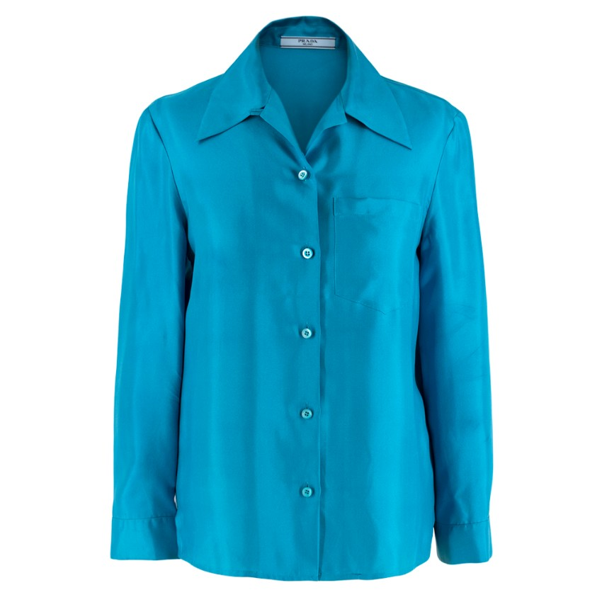 Prada Blue Lightweight Satin Blouse