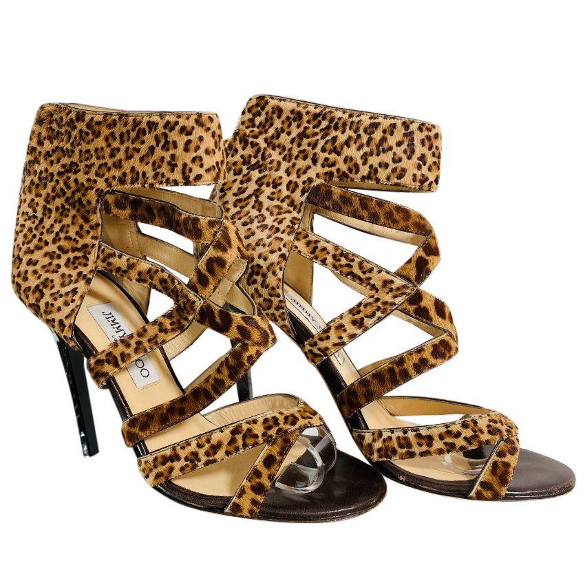 Jimmy Choo Leopard Print Calf Hair Sandals
