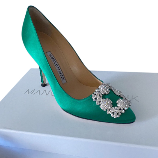 Manolo Blahnik Green Satin Hangisi 105 Pumps 39