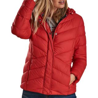 Barbour Red Quilted Hooded Puffer Jacket