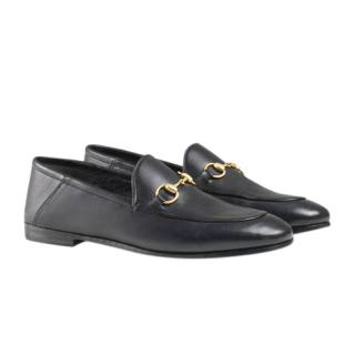 Gucci Foldable Black Horsebit Leather Loafers