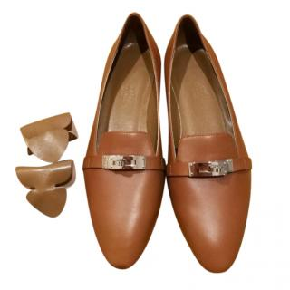 Hermes Tan Kelly Leather Flats